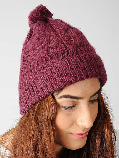 Buy Maroon Hand-knitted Woolen Cap Online at Jaypore.com f9db8afd4e3