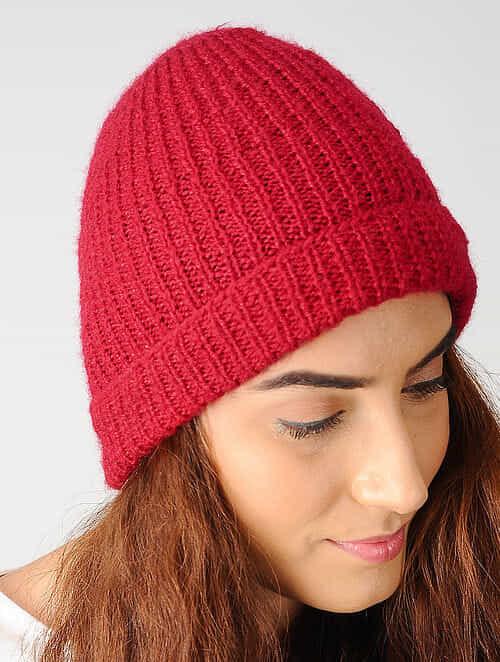 Buy Red Hand-knitted Woolen Cap Online at Jaypore.com 80d4075d480