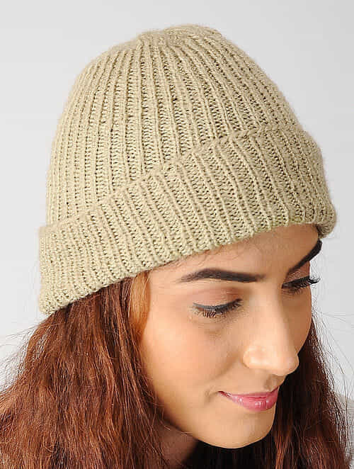 Buy Beige Hand-knitted Woolen Cap Online at Jaypore.com d2082ff88ea