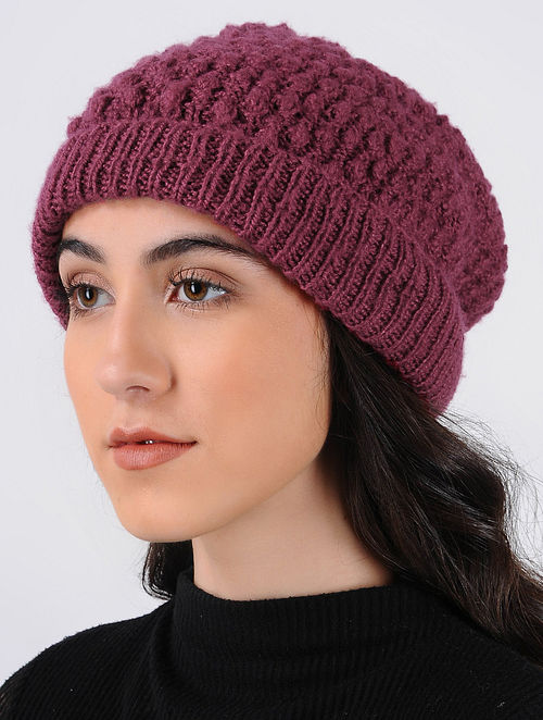 7ad93b1812a Buy Pink Hand Knitted Wool Cap Online at Jaypore.com