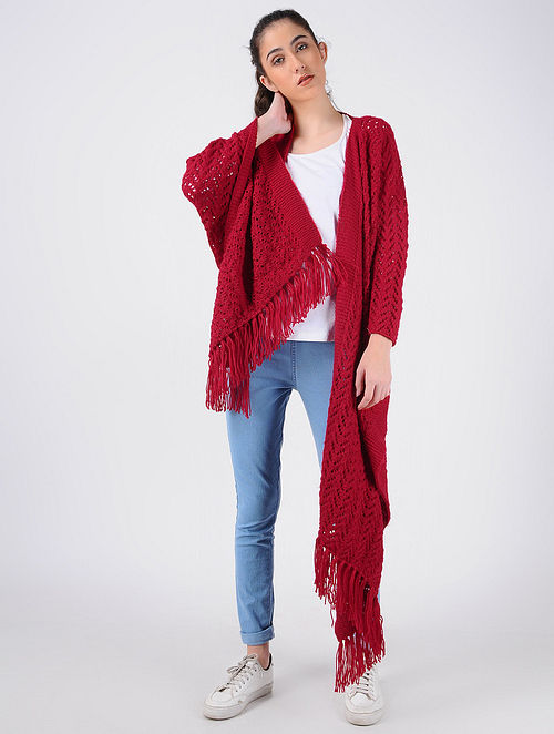 4e5cafc0580 Buy Red Hand Knitted Wool Cape Online at Jaypore.com