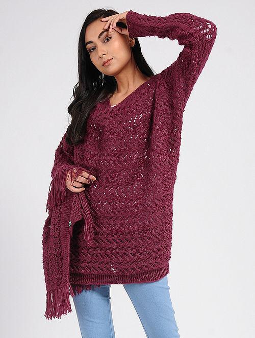 5ae7de91de4 Buy Pink Wool Cape Online at Jaypore.com