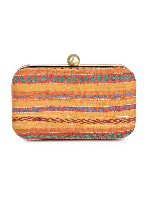 Yellow - Multi-Color Kantha Embroidered Silk Small Clutch - By Jaypore