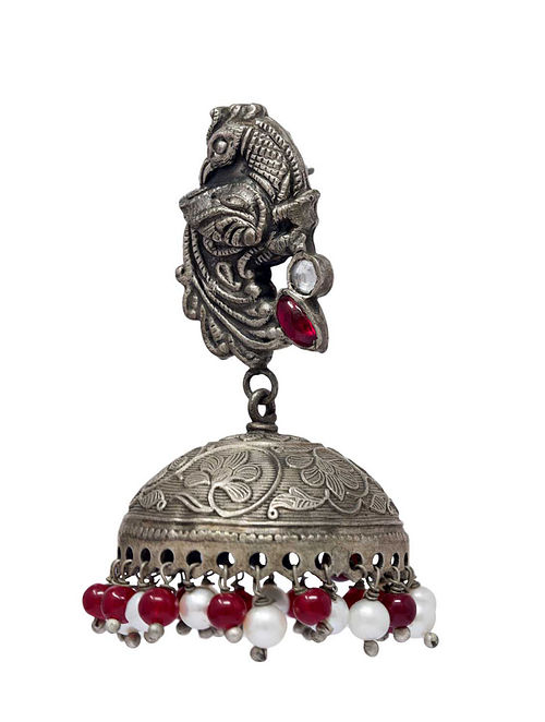 Maroon Tribal Silver Jhumki Earrings with Pearls