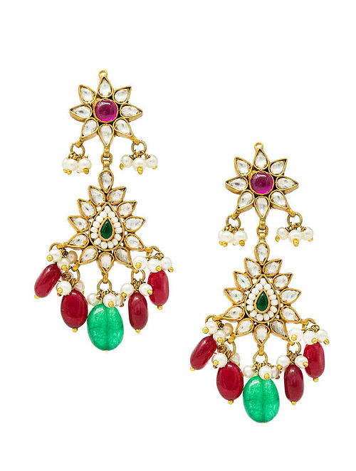 Maroon Green Gold Plated Kundan Silver Earrings with Pearls