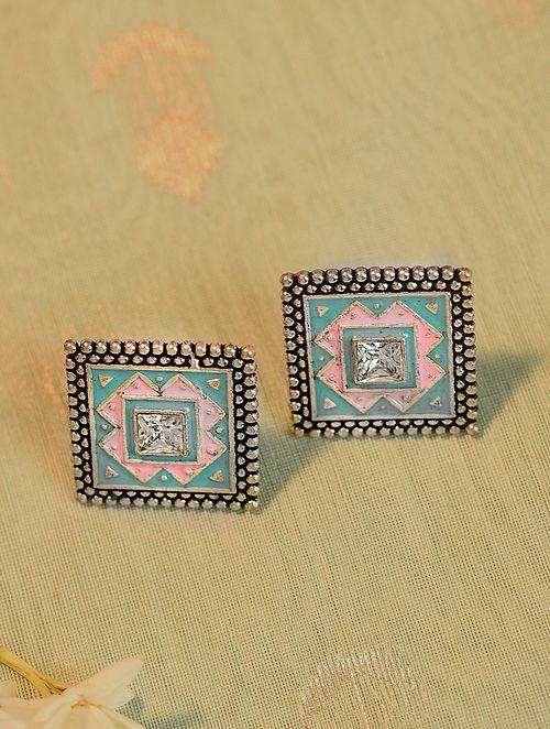 Blue Pink Silver Tone Tribal Enameled Earrings