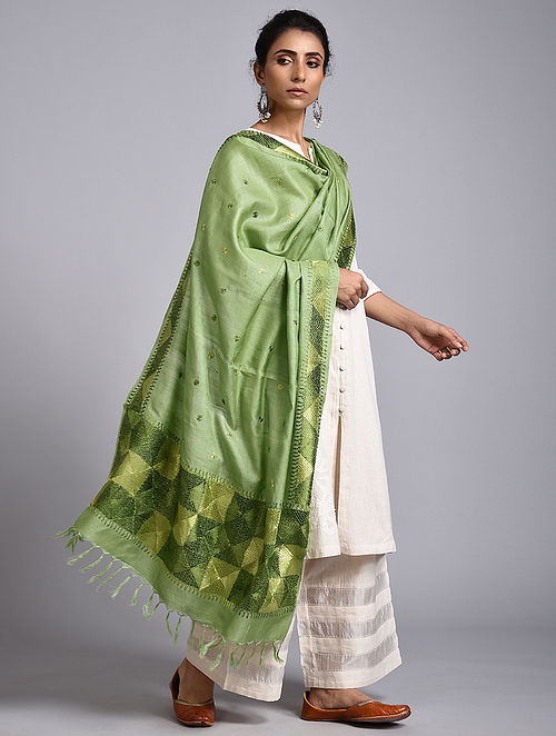 Green Phulkari Tussar Silk Dupatta Dupatta