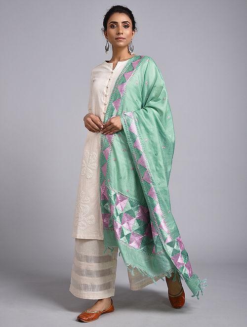 Green-Pink Phulkari Tussar Silk Dupatta Dupatta