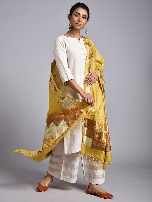 Yellow Phulkari Tussar Silk Dupatta Dupatta
