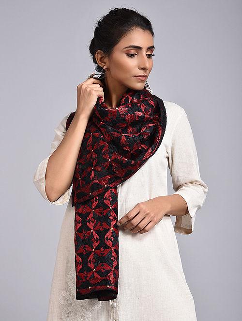 Black-Red Phulkari Cotton Stole