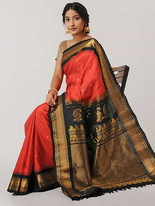 55f2e749a0 Buy Red-Black Gadwal Silk Saree Online at Jaypore.com