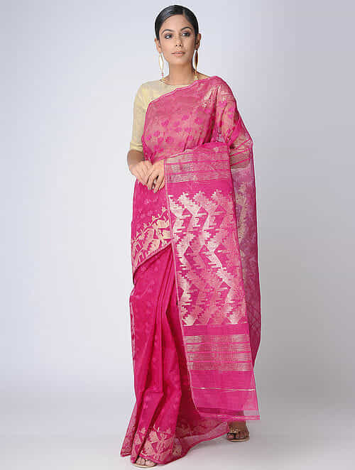 4dd1b14d7cb37 Buy Pink Dhakai Jamdani Cotton Saree with Zari Online at Jaypore.com