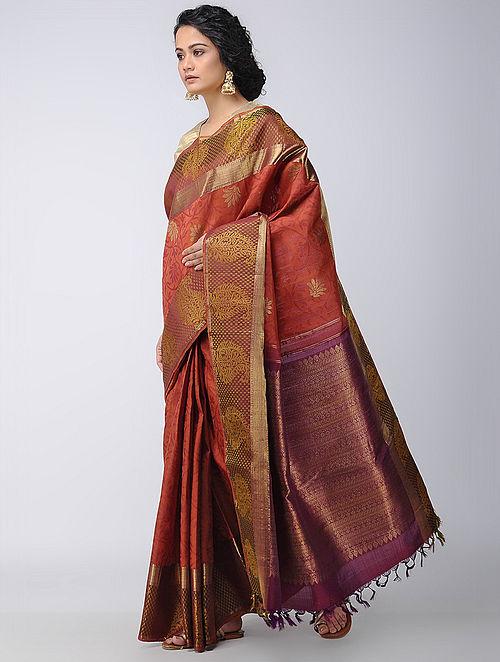 3848f1bd7ec Buy Red-Purple Kanjivaram Silk Saree Online at Jaypore.com