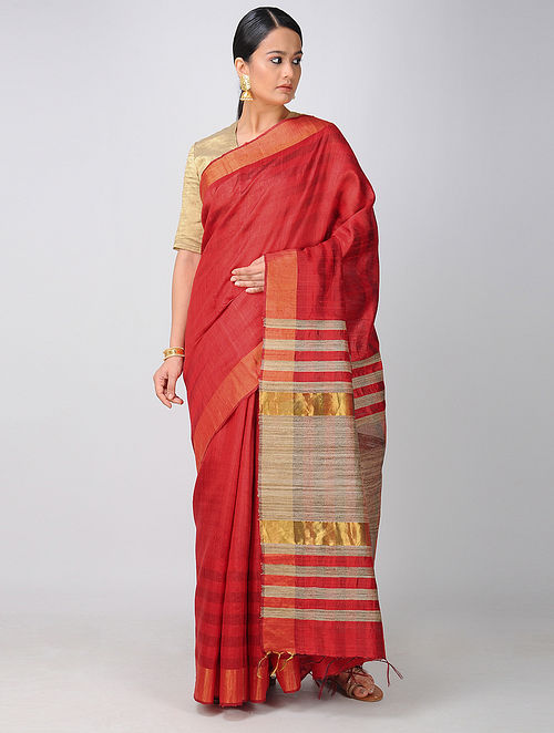 f7b7448f3e Buy Red-Beige Tussar Silk Saree with Zari Online at Jaypore.com