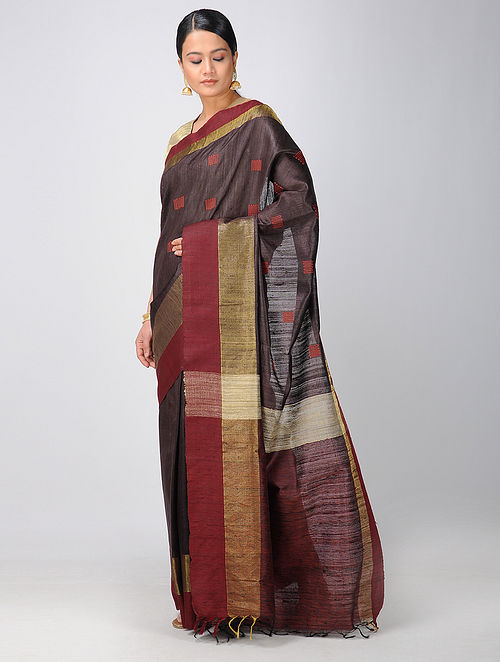 a3b2416845 Buy Burgundy-Red Tussar Silk Saree with Zari Online at Jaypore.com