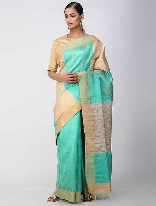 bfa93e603a Buy Sea Green Tussar Silk Saree Online at Jaypore.com