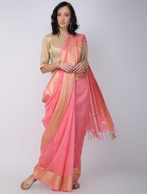 afd7b392b2a9f9 Buy Pink Linen Silk Saree with Zari Online at Jaypore.com