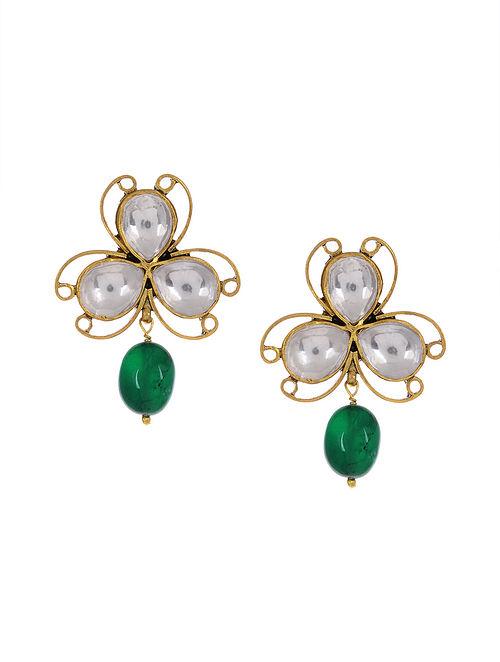 Green Kundan Inspired Gold Tone Silver Earrings