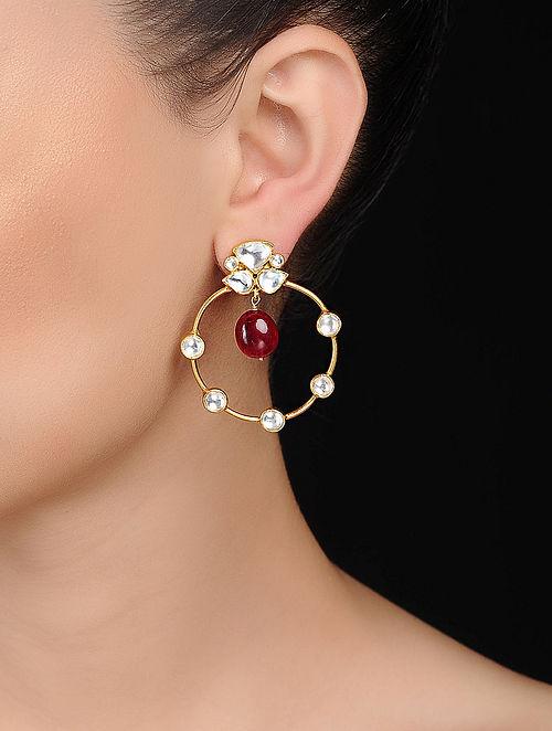 Pink Kundan-inspired Gold Tone Silver Earrings