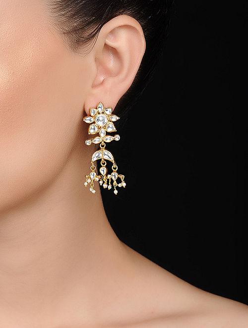 Kundan-inspired Gold Tone Silver Earrings