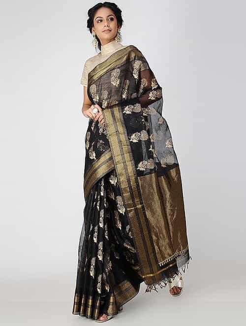 381bccab374 Buy Black Block-printed Cotton Silk Saree with Zari Online at Jaypore ...