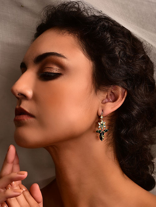 Gold Polki Earrings with Emerald