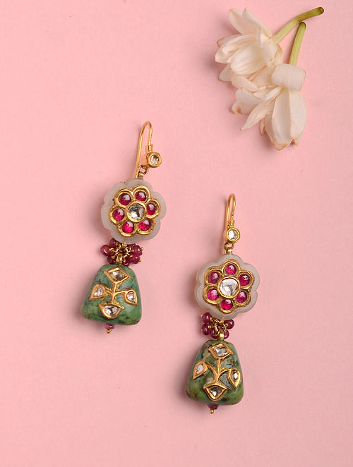 Gold Polki Earrings with Green Turquoise, Jade and Ruby