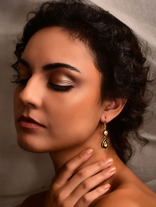 Green Enamelled Gold Polki Earrings with Pearls
