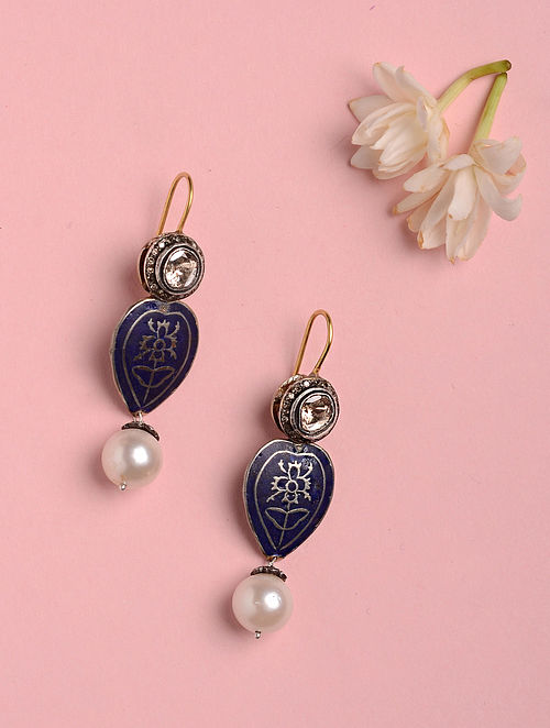 Blue Enamelled Silver and Gold Earrings with Pearls