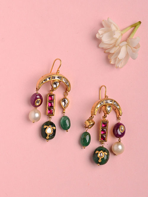 Gold Earrings with Ruby and Emerald