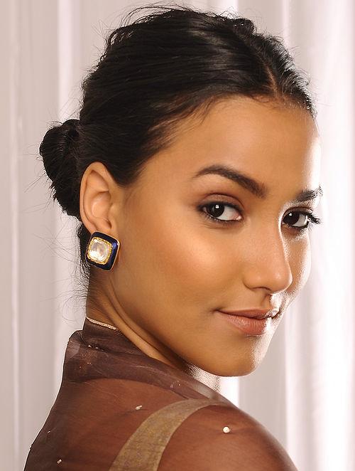 Blue Enameled Gold Polki Earrings