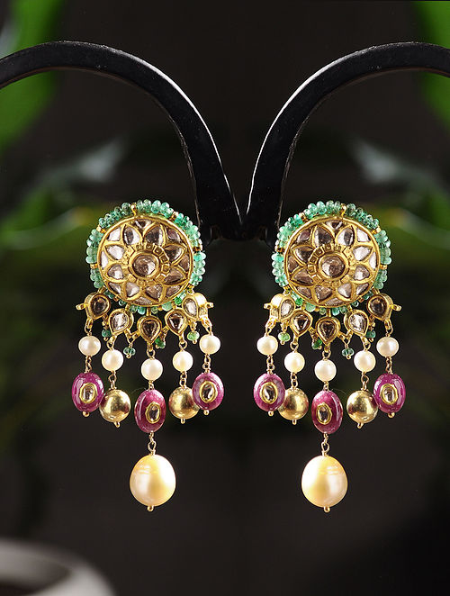 Gold Polki Earrings with Emerald, Ruby and Pearls