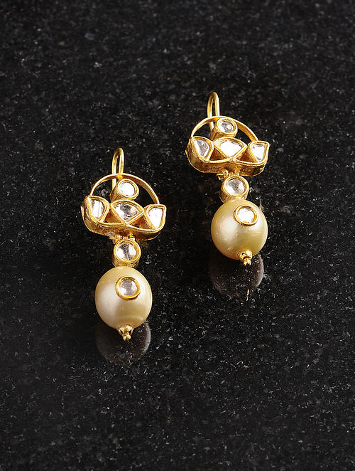 Polki Gold Earrings with Pearls