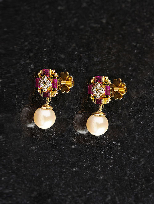 Gold and Diamond Earrings with Ruby and Pearls