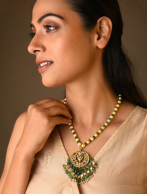 Polki Gold Necklace with Emeralds and Pearls