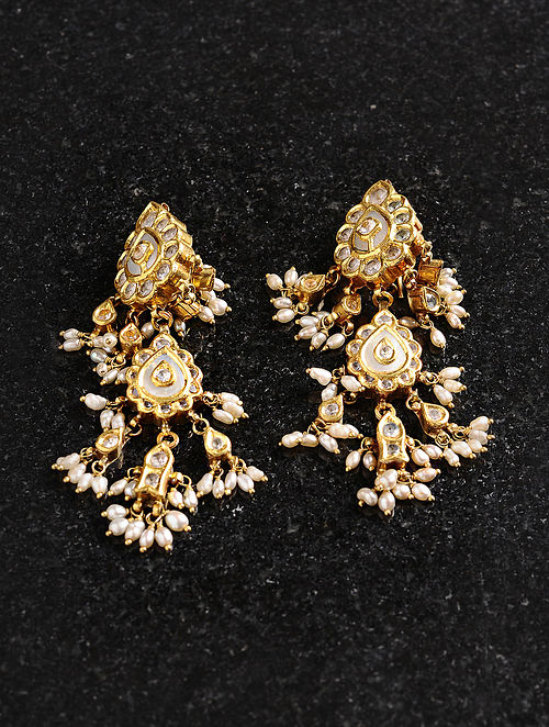 Vintage Gold Earrings with Mother of Pearl and Pearls
