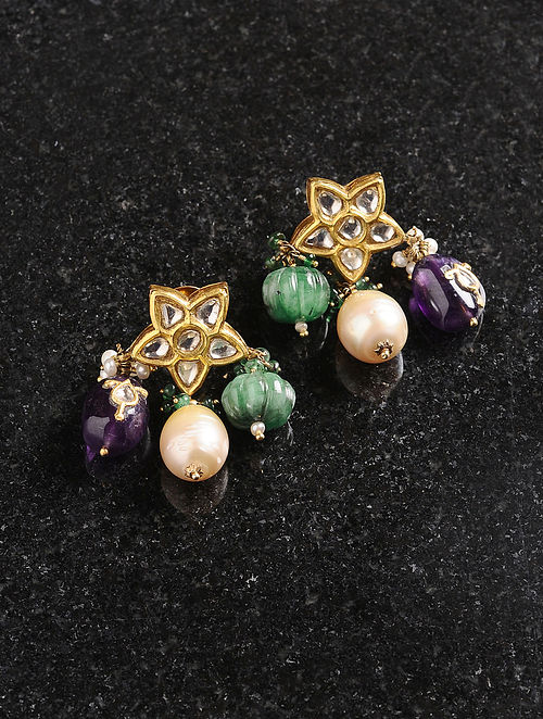 Polki Gold Earrings with Emerald, Amethyst and Pearls