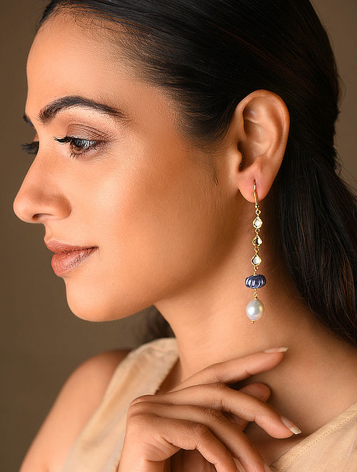 Sapphire and Pearl Polki Gold Earrings