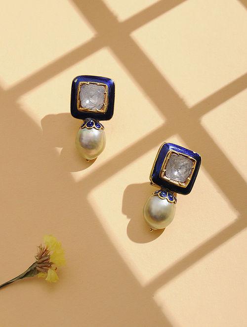 Blue Enameled Polki Gold Earrings with Pearls