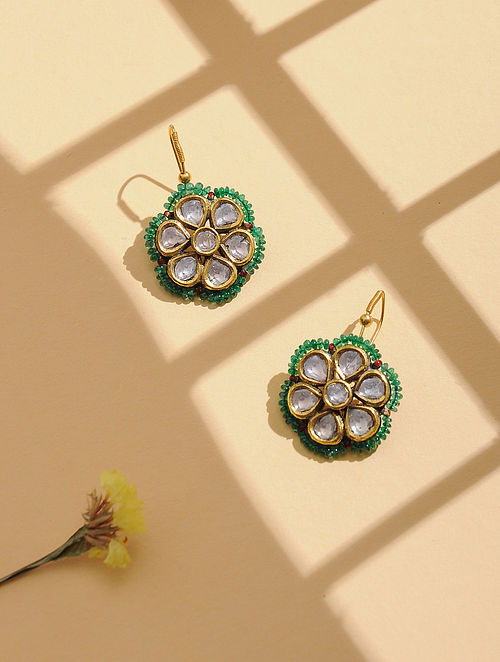 Red-Green Enameled Polki Gold Earrings with Emerald