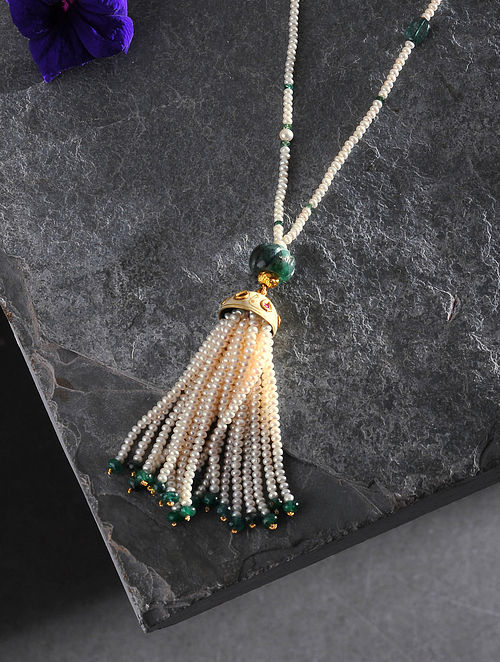 Pearl Beaded Polki Gold Necklace