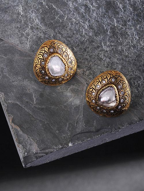 Green-Black Enameled Polki Gold Earrings