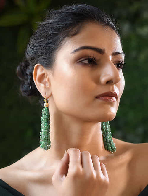 Emerald and Polki Gold Earrings