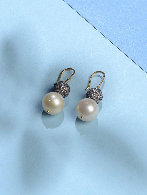 South Sea Pearl and Diamond Gold Earrings