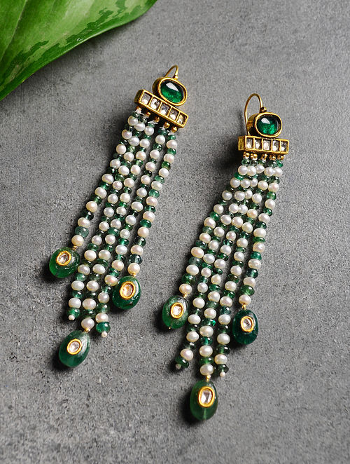 Emerald and Pearl Polki Gold Earrings