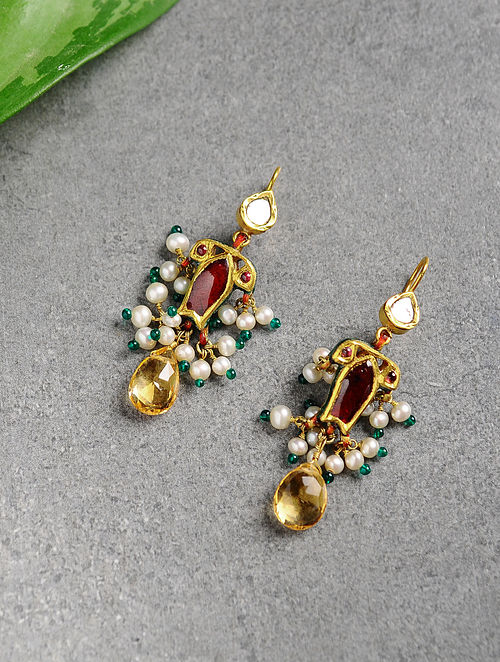 Ruby and Pearl Polki Gold Earrings