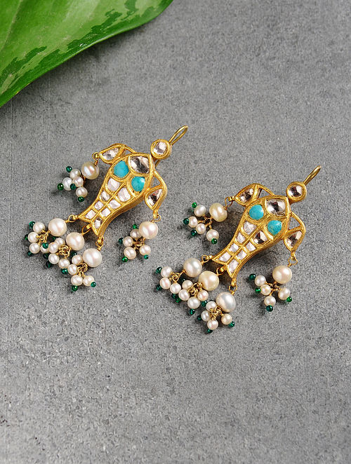 Pearl and Polki Gold Earrings