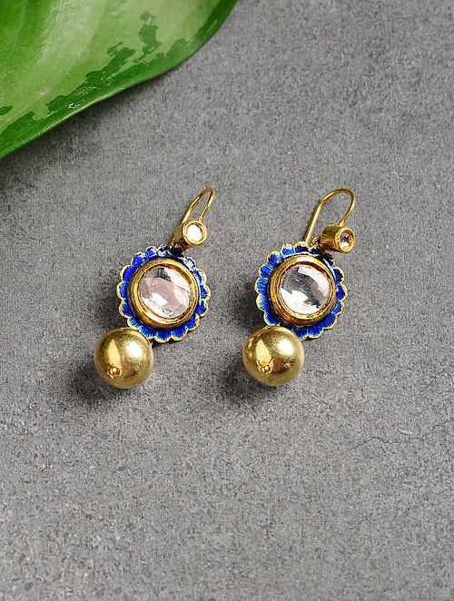 Blue Polki Gold Earrings