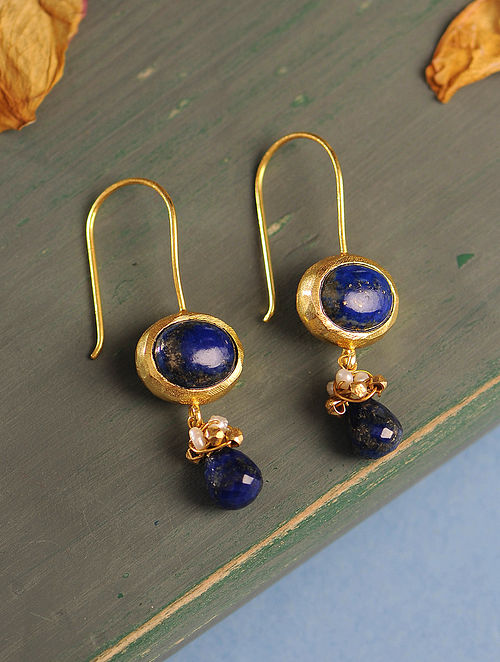 Lapis Lazuli and Fresh Water Pearl Gold-plated Silver Earrings