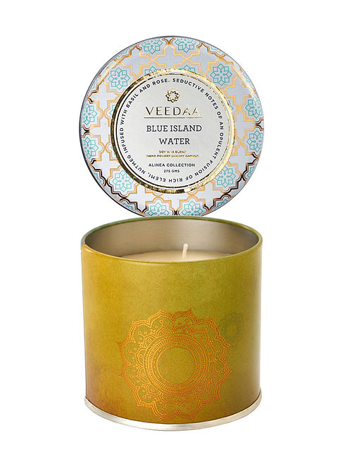 Blue Island Water Mason Tin Scented Candle (Dia:3in, H:3in)